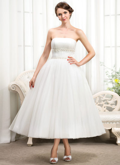 Ball-Gown Strapless Tea-Length Tulle Wedding Dress With Ruffle Lace Beading Sequins