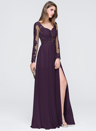 A-Line Sweetheart Floor-Length Chiffon Prom Dresses With Split Front