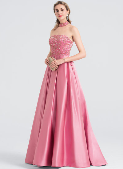 Ball-Gown Strapless Sweep Train Satin Prom Dresses With Beading