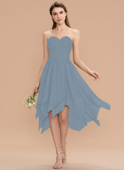 A-Line Sweetheart Asymmetrical Chiffon Lace Bridesmaid Dress