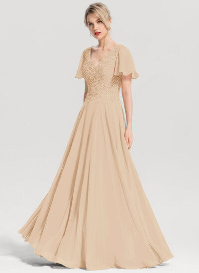 A-Line/Princess V-neck Floor-Length Chiffon Evening Dress With Beading