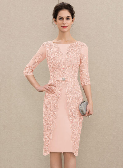 Sheath/Column Scoop Neck Knee-Length Satin Lace Mother of the Bride Dress With Beading Bow(s)