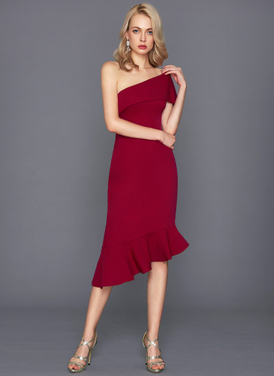 Sheath/Column One-Shoulder Asymmetrical Stretch Crepe Cocktail Dress With Cascading Ruffles
