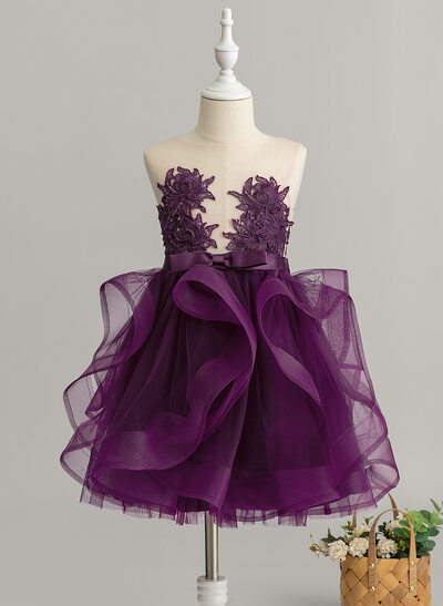 Ball-Gown/Princess Knee-length Flower Girl Dress - Tulle/Lace Sleeveless Scoop Neck With Ruffles