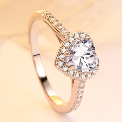 925 Sterling Silver With Heart Cubic Zirconia Rings/Engagement Rings/Promise Rings/Stackable Rings