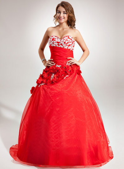 Ball-Gown Sweetheart Floor-Length Organza Quinceanera Dress With Beading Appliques Lace Flower(s)