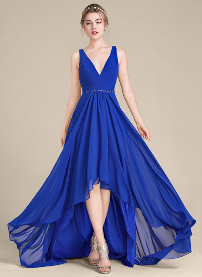 A-Line V-neck Asymmetrical Chiffon Bridesmaid Dress