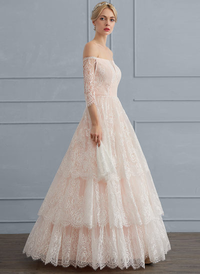 Duchesse-Linie Off-the-Schulter Bodenlang Lace Brautkleid