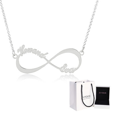 [Free Shipping]Custom Sterling Silver Infinity Two Name Necklace Infinity Name Necklace - Birthday Gifts Mother's Day Gifts (288211245)