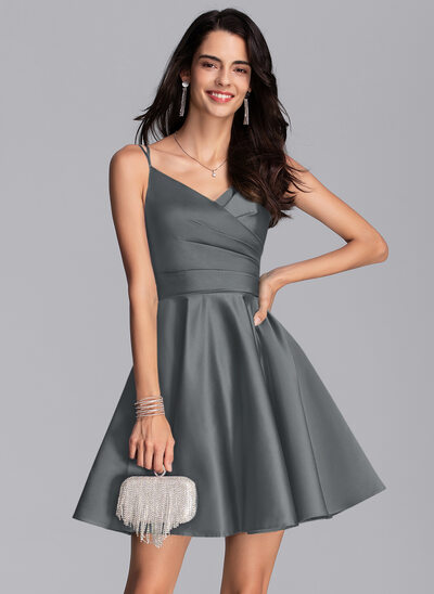 A-Line V-neck Short/Mini Satin Prom Dresses With Ruffle Pockets