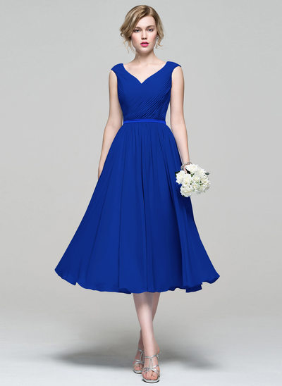 A Line Princess V Neck Tea Length Chiffon Bridesmaid Dress With Ruffle