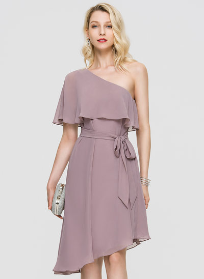 A-Line One-Shoulder Asymmetrical Chiffon Cocktail Dress With Bow(s) Cascading Ruffles