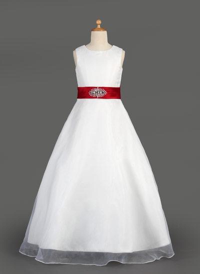 A-Line/Princess Floor-length Flower Girl Dress - Organza/Satin Sleeveless Scoop Neck With Ruffles/Sash/Beading/Bow(s)
