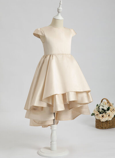 Ball-Gown/Princess Asymmetrical Flower Girl Dress - Satin Short Sleeves Scoop Neck