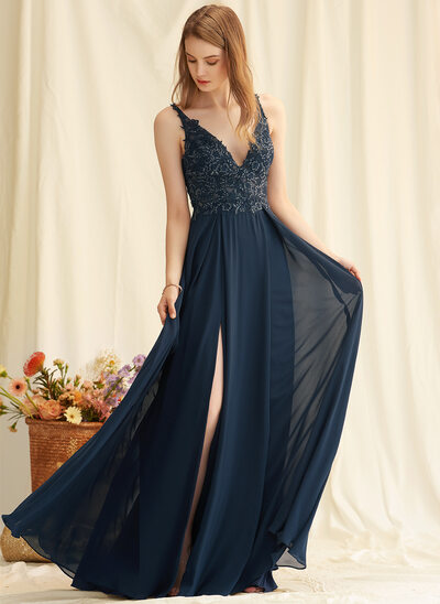 A-Line V-neck Floor-Length Chiffon Prom Dresses With Lace Sequins Split Front