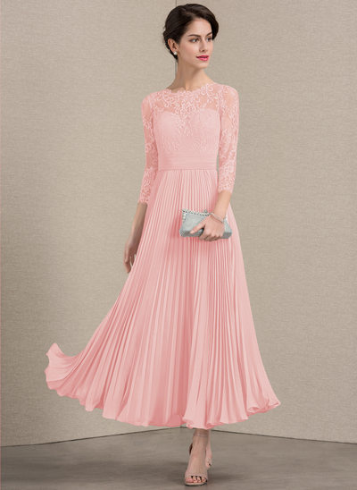 A-Line/Princess Scoop Neck Ankle-Length Chiffon Lace Mother of the Bride Dress With Pleated