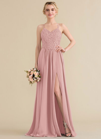 A-Line Sweetheart Floor-Length Chiffon Lace Bridesmaid Dress With Split Front
