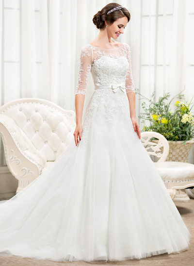 Ball-Gown/Princess Illusion Chapel Train Tulle Lace Wedding Dress With Beading Sequins Bow(s)