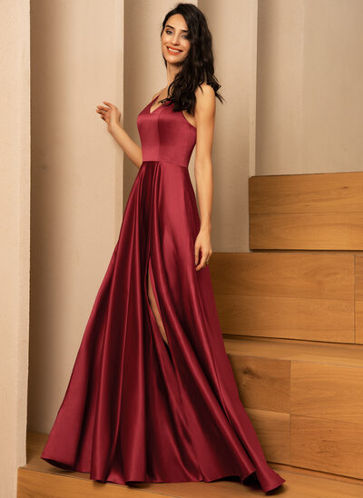 A-Line V-neck Floor-Length Satin Evening Dress With Pockets