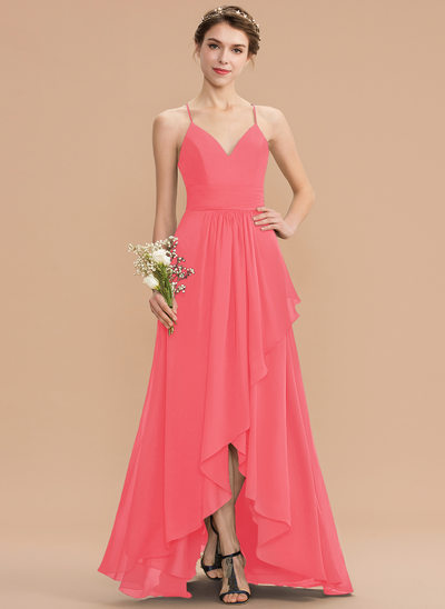 A-Line V-neck Asymmetrical Chiffon Lace Prom Dresses With Cascading Ruffles