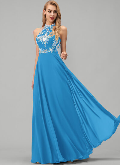 A-Line Scoop Neck Floor-Length Chiffon Prom Dresses With Lace