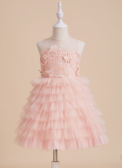 Plesové/Princesový Po kolena Flower Girl Dress - Tyl/Krajka Bez rukávů Scoop Neck