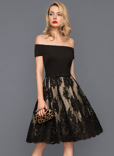 A-Line Off-the-Shoulder Knee-Length Tulle Lace Cocktail Dress With Bow(s)