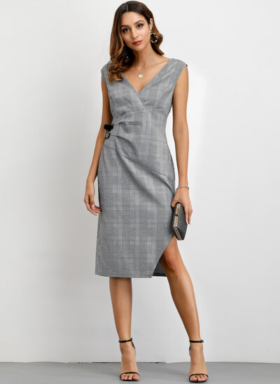 A-Line V-neck Knee-Length Cotton Cocktail Dress