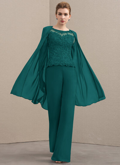 Jumpsuit/Pantsuit Scoop Neck Floor-Length Chiffon Lace Mother of the Bride Dress With Beading