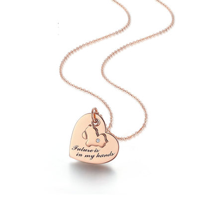 Personalized Couples' Hottest With Heart Cubic Zirconia Engraved Necklaces Necklaces For Mother/For Couple