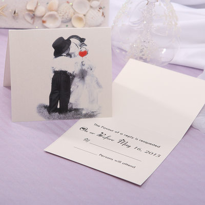 Personalized Bride & Groom Style Top Fold Response Cards (Set of 20)