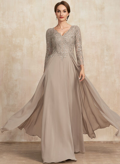 A-Line V-neck Floor-Length Lace Chiffon Mother of the Bride Dress
