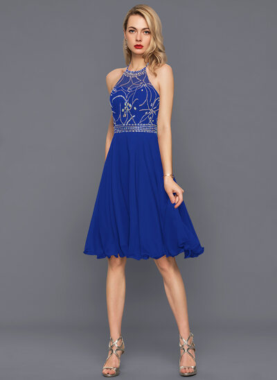 A-Line Halter Knee-Length Chiffon Cocktail Dress With Beading Sequins