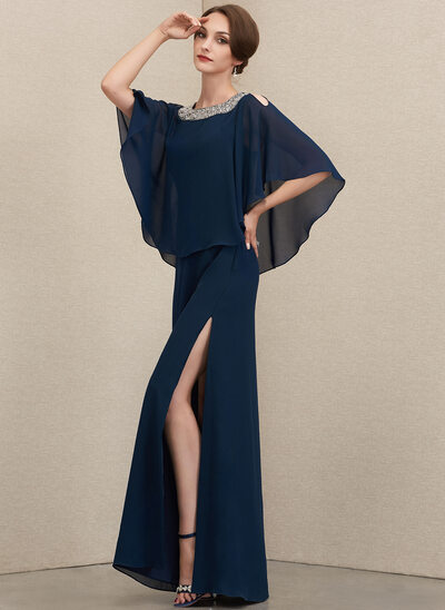A-Line Square Neckline Floor-Length Chiffon Mother of the Bride Dress With Beading Split Front