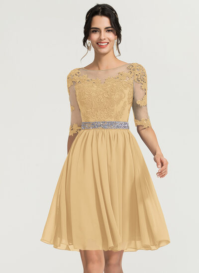 A-Line Scoop Neck Knee-Length Chiffon Cocktail Dress With Beading