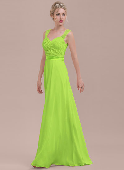 A-Line/Princess Sweetheart Floor-Length Chiffon Bridesmaid Dress With Ruffle