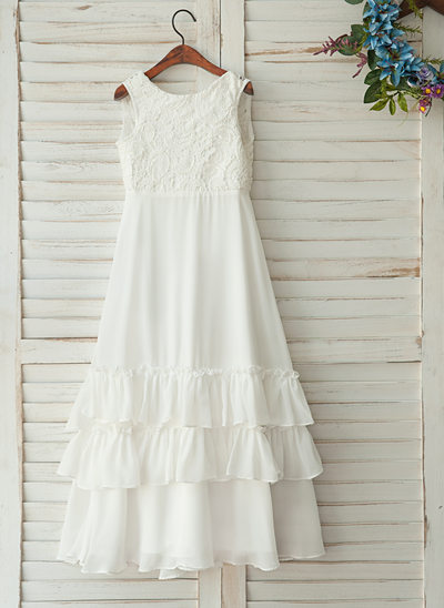 A-Line/Princess Floor-length Flower Girl Dress - Chiffon/Satin/Tulle/Lace Sleeveless Scoop Neck With Ruffles/V Back
