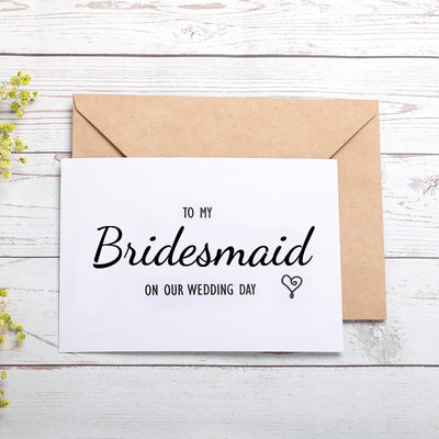 Bridesmaid Gifts - Beautiful Fashion Card Paper Wedding Day Card