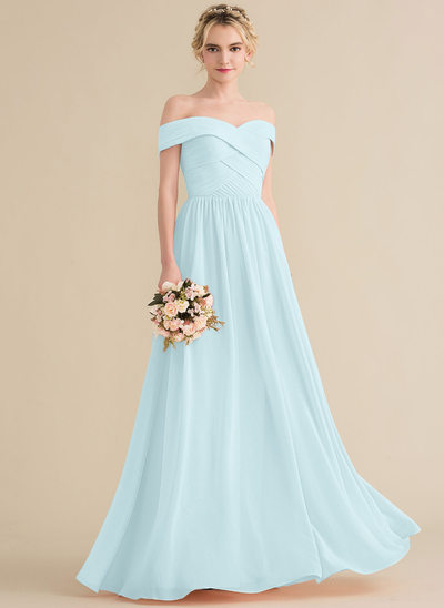 84d631e891 A-Line Princess Off-the-Shoulder Floor-Length Chiffon Bridesmaid Dress