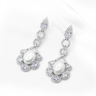Ladies' Unique Copper/Platinum Plated With Round Cubic Zirconia/Imitation Pearls Earrings For Bridesmaid/For Mother