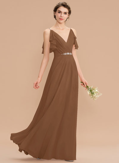 A-Line V-neck Floor-Length Chiffon Bridesmaid Dress With Beading Sequins Cascading Ruffles