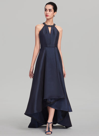 A-Line/Princess Scoop Neck Asymmetrical Taffeta Evening Dress With Beading Sequins