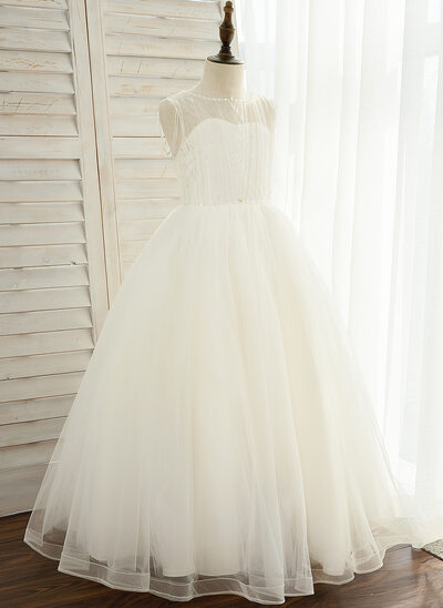 A-Line Floor-length Flower Girl Dress - Tulle/Lace Sleeveless Scoop Neck With Beading