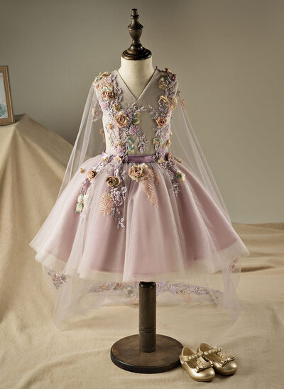 A-Line/Princess Knee-length Flower Girl Dress - Polyester/Cotton Sleeveless V-neck With Beading/Flower(s)/Sequins