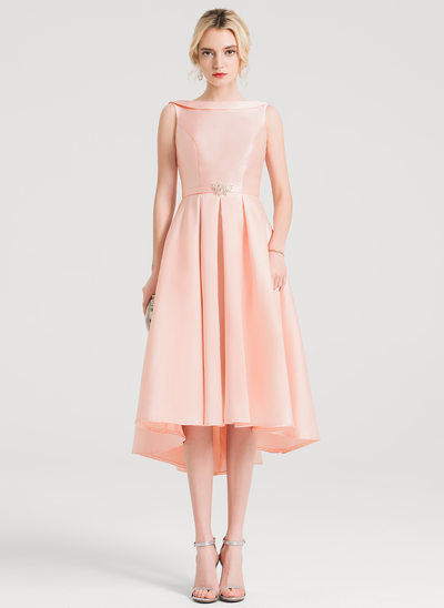 A-Line/Princess Scoop Neck Asymmetrical Satin Cocktail Dress With Beading