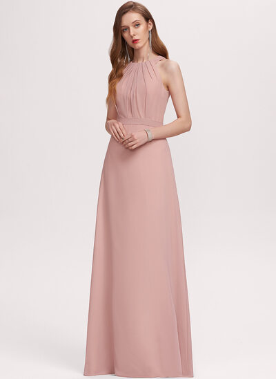 A-Line Scoop Neck Floor-Length Chiffon Evening Dress With Ruffle