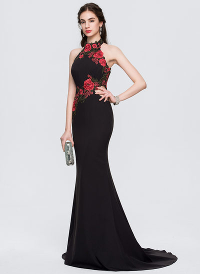 Trumpet/Mermaid Halter Sweep Train Stretch Crepe Prom Dresses With Appliques Lace