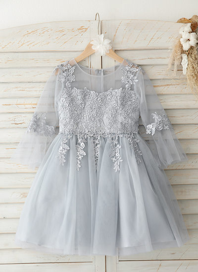 Áčkové Šaty Po kolena Flower Girl Dress - Tyl/Krajka 3/4 rukávy Scoop Neck