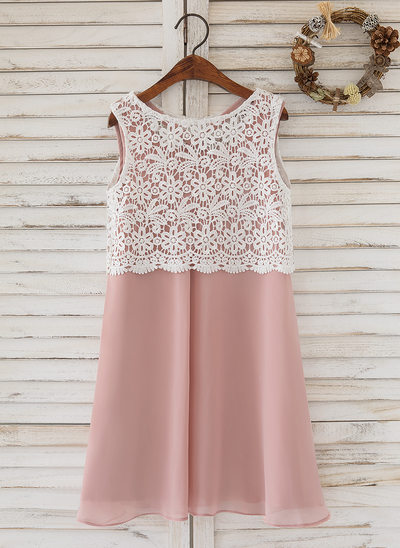 A-Line/Princess Knee-length Flower Girl Dress - Chiffon/Lace Sleeveless Scoop Neck With Back Hole