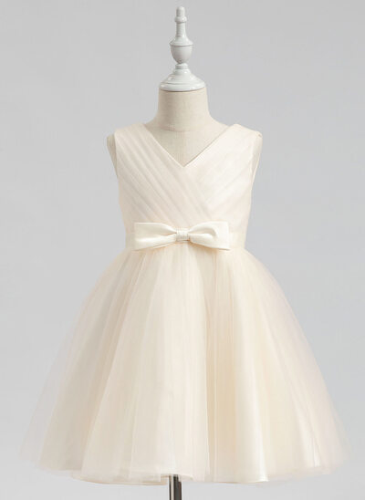 A-Line Knee-length Flower Girl Dress - Sleeveless V-neck With Bow(s)